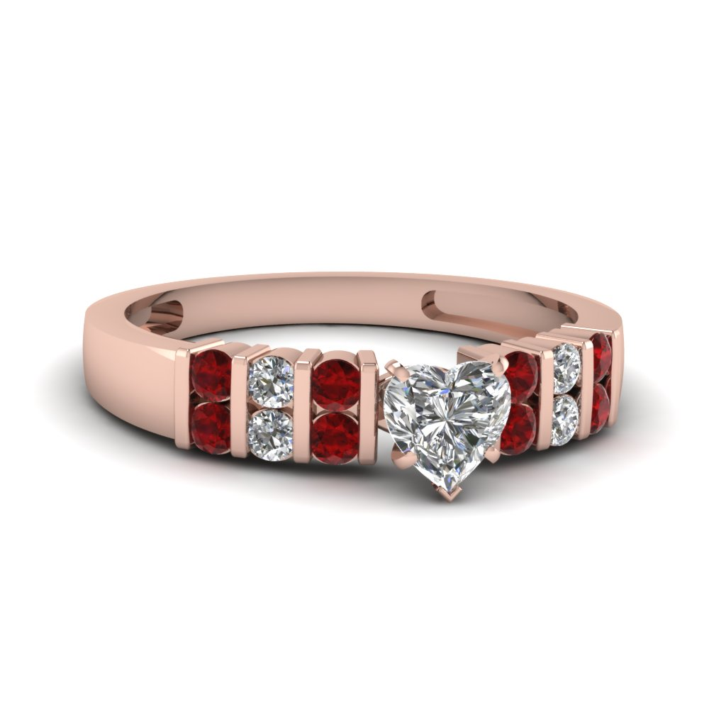 Heart Accent Ruby Wedding Ring