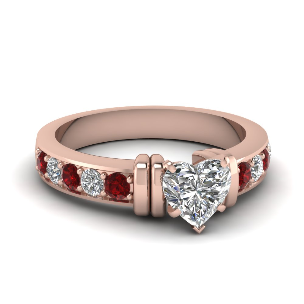 simple bar set heart diamond engagement ring with ruby in FDENR957HTRGRUDR Nl RG