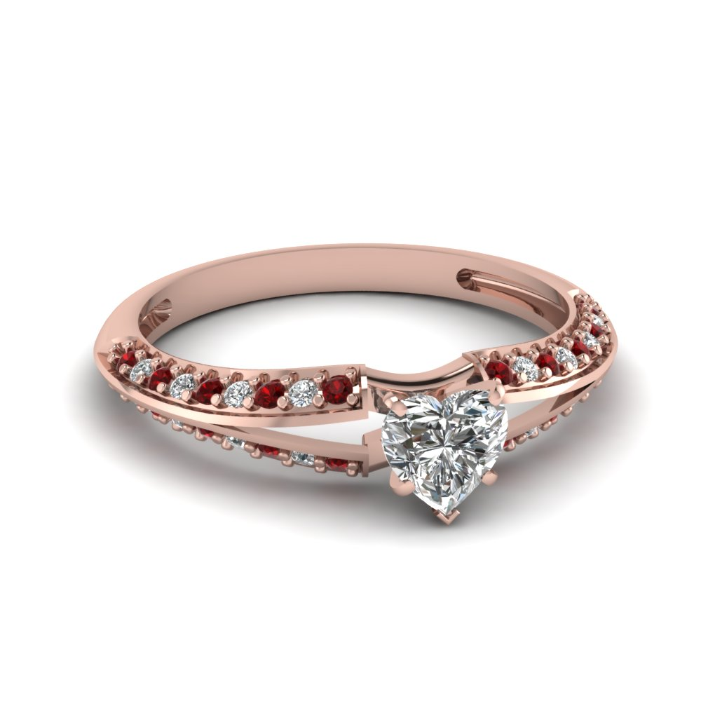 Pave Set Rubies And Diamond Rose Gold Engagement Ring