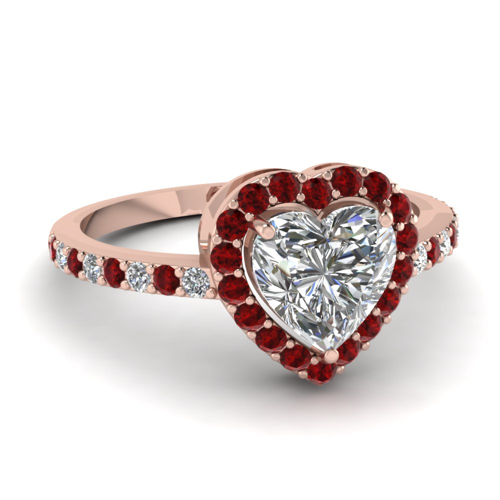 Heart Halo Ruby Ring