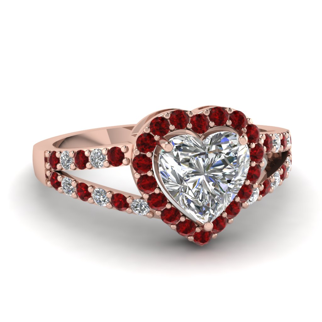 Diamond Ruby Split Shank Ring