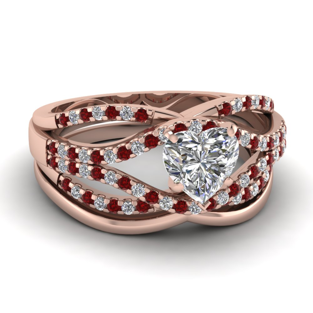 Heart Rose Gold Wedding Ring Set