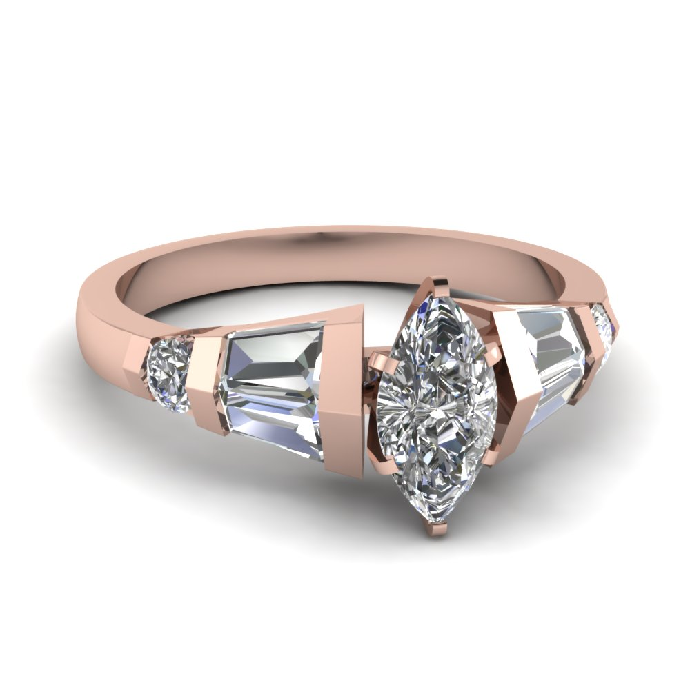 Rose Gold Baguette Diamond Ring