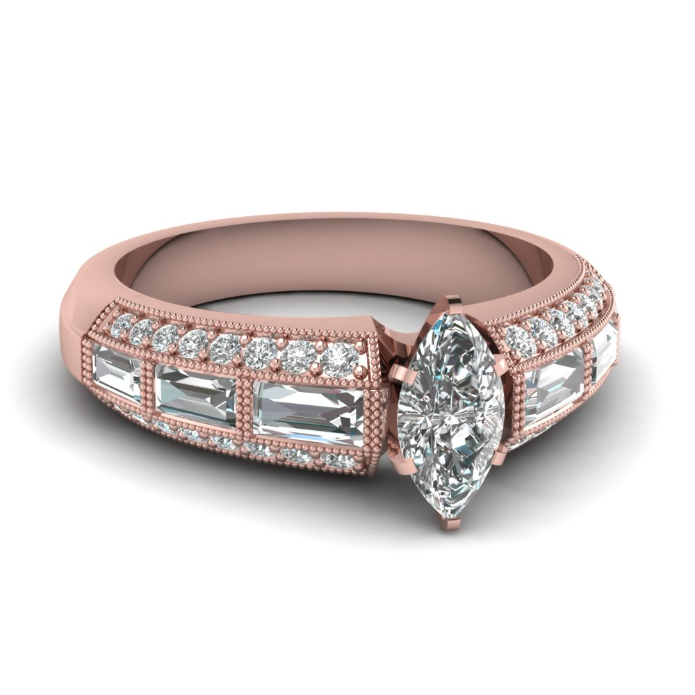 Marquise Cut Milgrain Engagement Rings