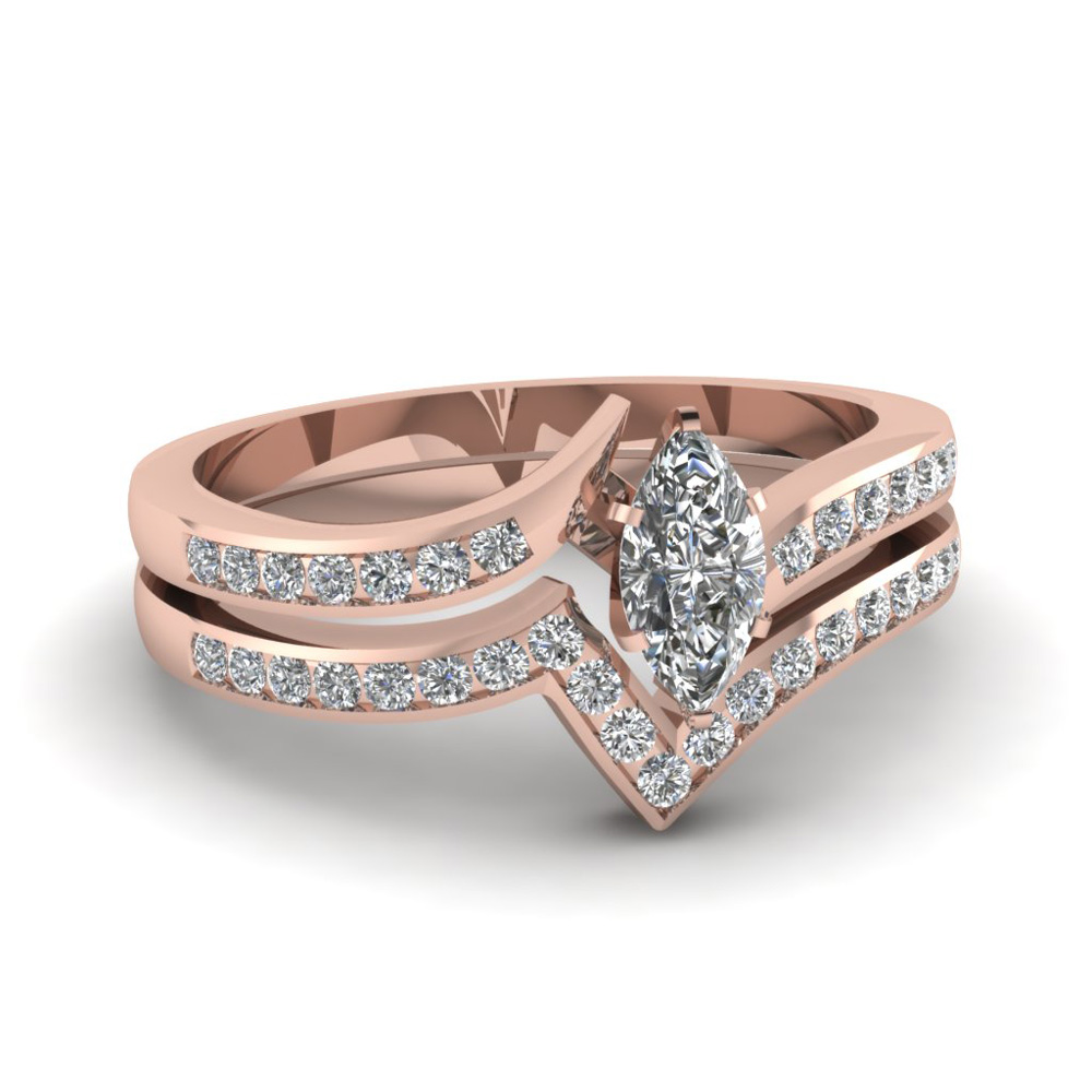 twist channel marquise diamond wedding set in FDENS3094MQ NL RG 30