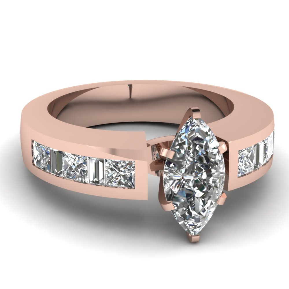 Elegant Marquise Diamond Baguette Engagement Ring