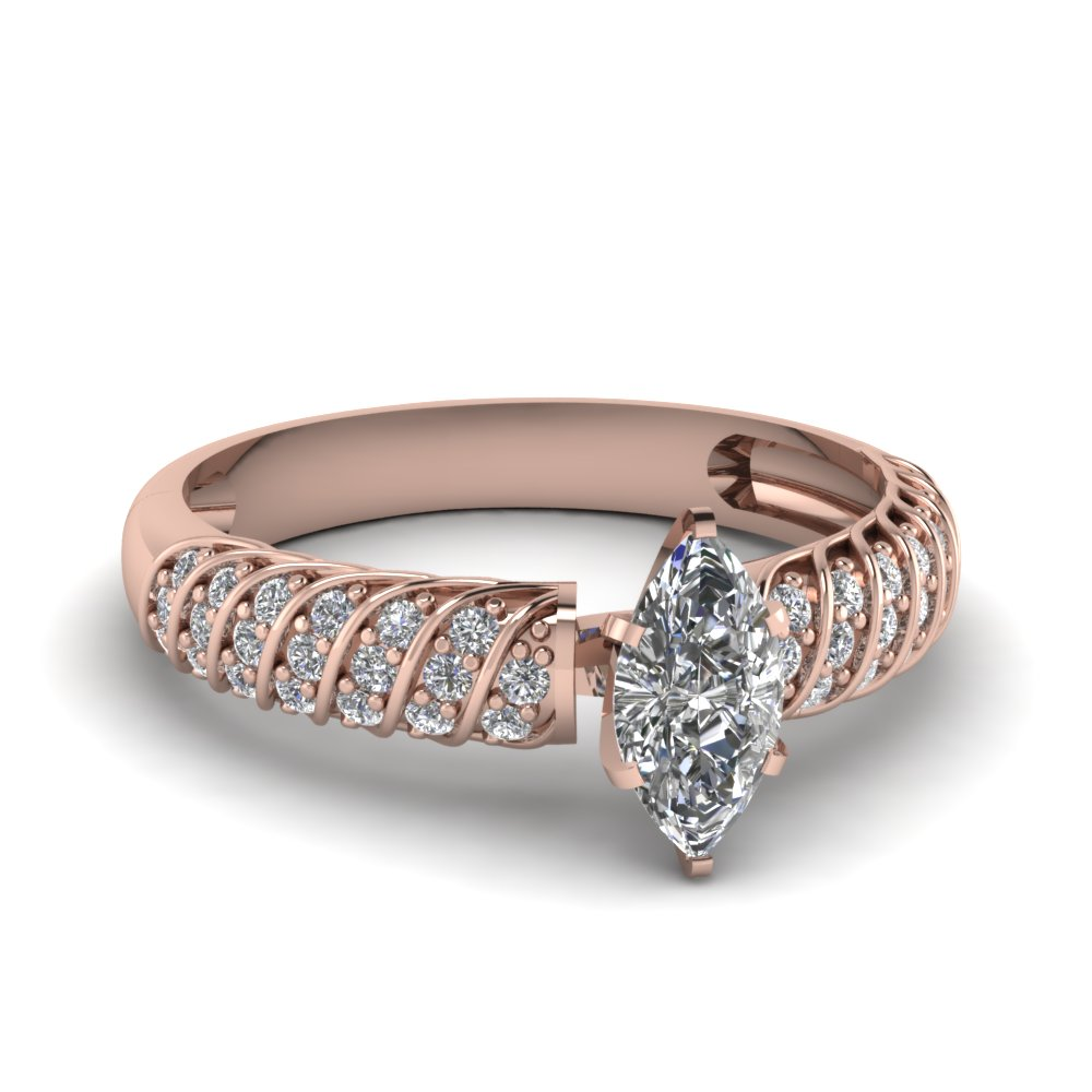 Rose Gold Marquise Shaped Swirl Style Ring