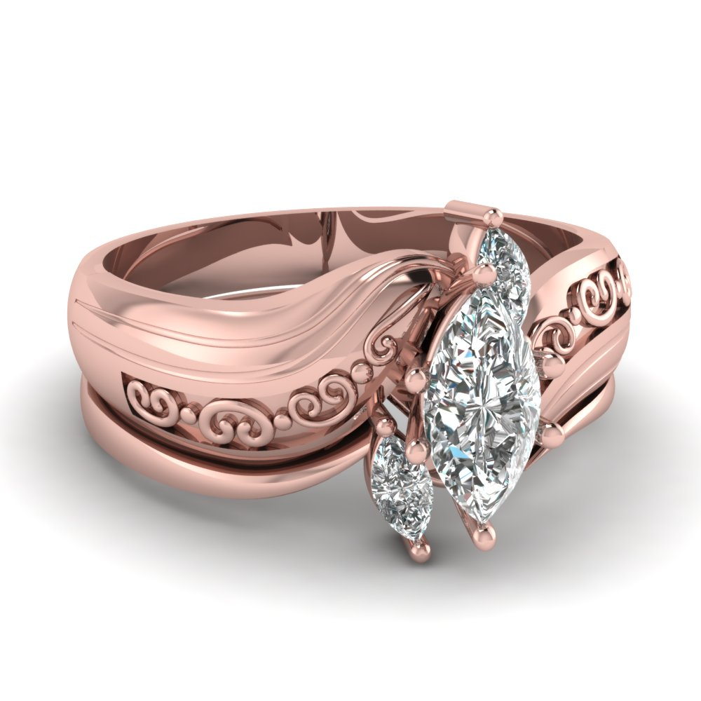rose gold marquise white diamond engagement wedding ring - Marquis Wedding Ring