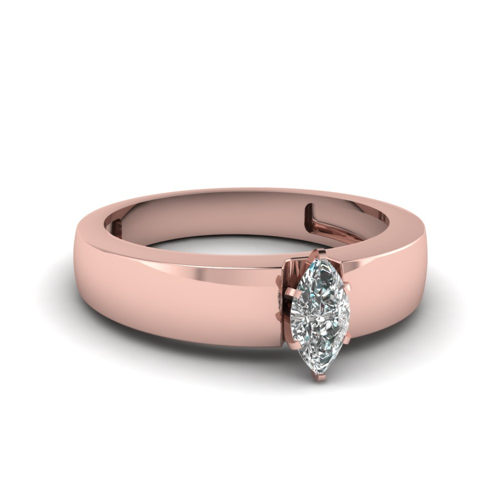 Flat Solitaire Marquise Cut Engagement Ring In 18K Rose Gold ...