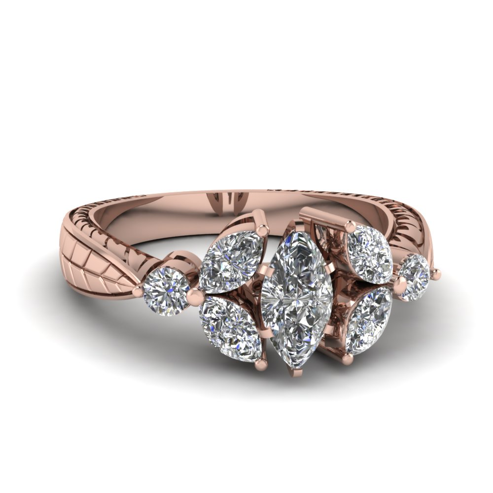 Rose Gold Marquise White Diamond Engagement Wedding Ring In Prong Set