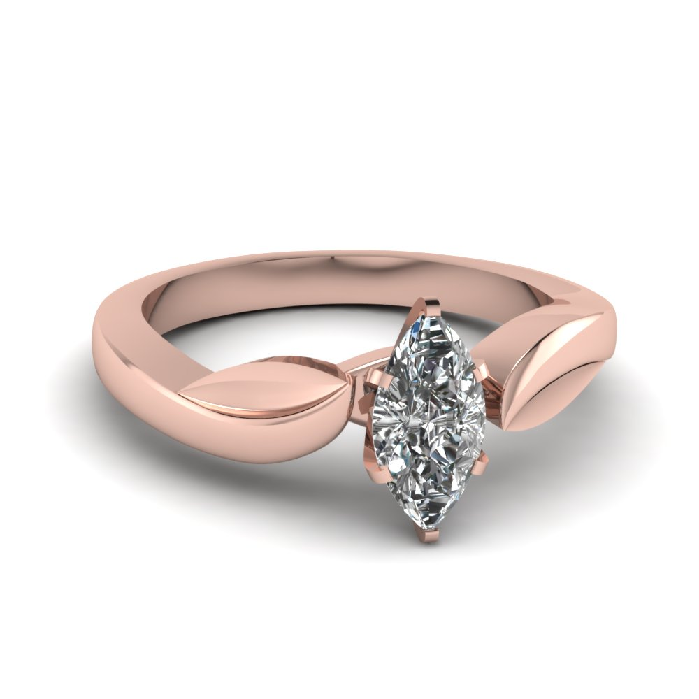 Marquise Shaped Diamond Solitaire Engagement Rings In 18k Rose Gold