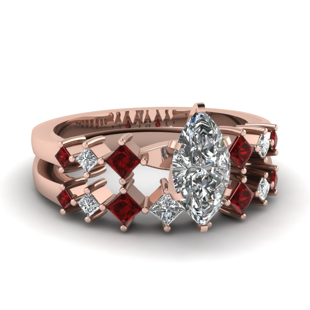Delicate Marquise Diamond Ruby Wedding Sets