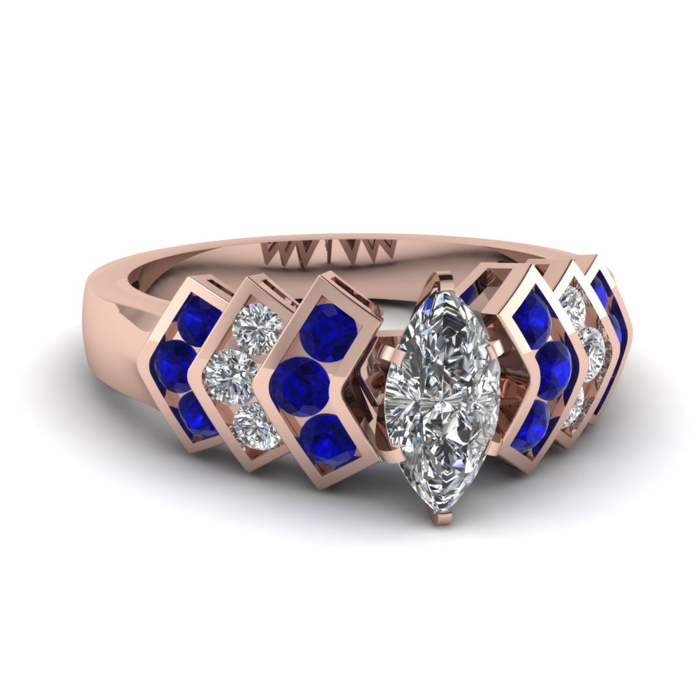 Modern Blue Sapphire Side Stone Engagement Ring