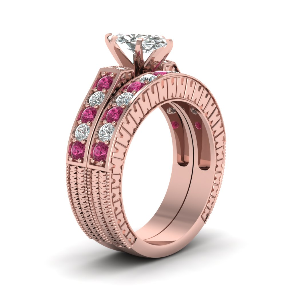 Marquise Diamond Vintage Pave Wedding Ring Set With Pink Sapphire In ...