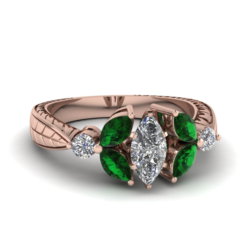 Stunning Emerald Vintage Engagement Rings