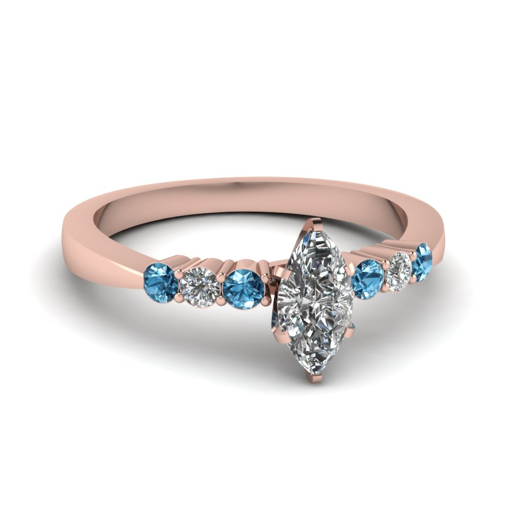marquise shaped tapered 7 stone engagement ring with blue topaz in FDENS750MQRGICBLTO NL RG