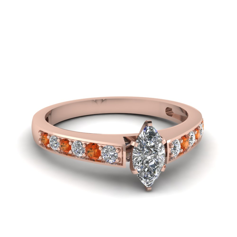 marquise shaped pave diamond engagement ring with orange sapphire in FDENS3002MQRGSAOR NL RG 30