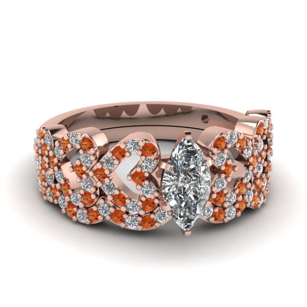 marquise shaped heart design linked diamond wedding set with orange sapphire in FDENS3051MQGSAOR NL RG.jpg