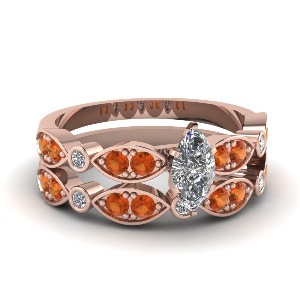 art deco marquise diamond wedding ring set with orange sapphire in FDENS2035MQGSAOR NL RG