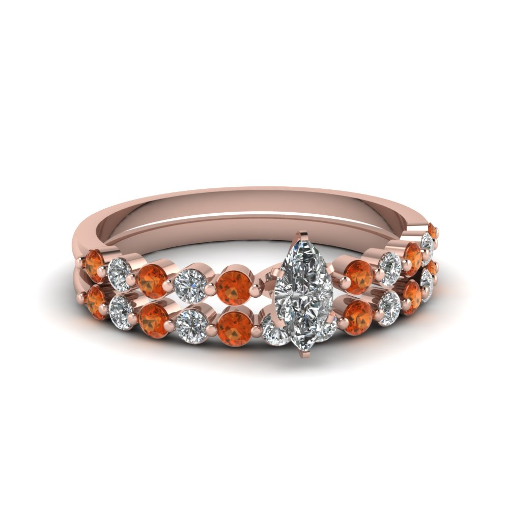 18k Rose Gold Wedding Ring Set