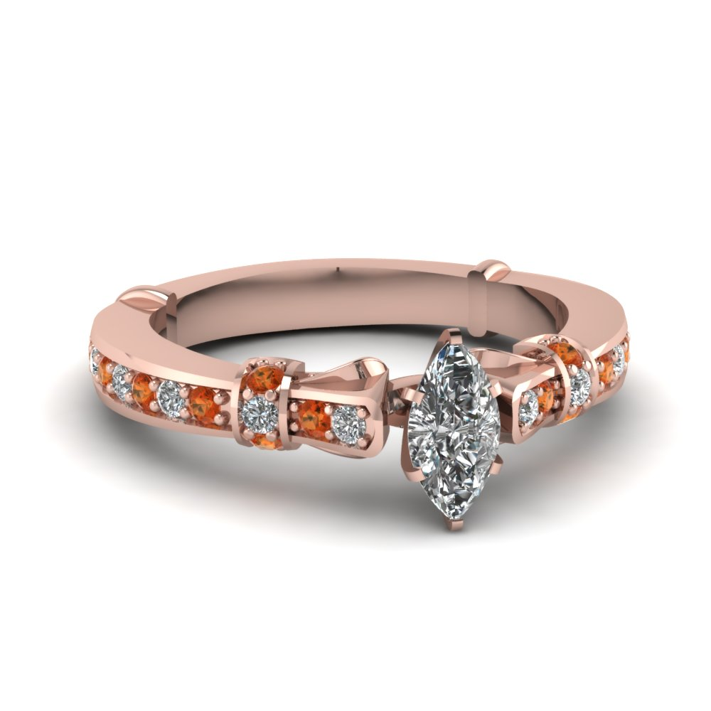 marquise shaped antique high set diamond ring with orange sapphire in FDENS3318MQRGSAOR NL RG.jpg