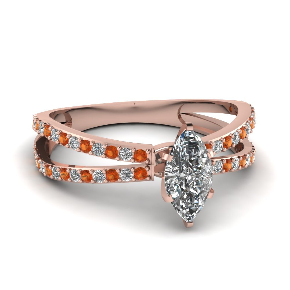 reverse split shank marquise diamond engagement ring with orange sapphire in FDENS3134MQRGSAOR NL RG