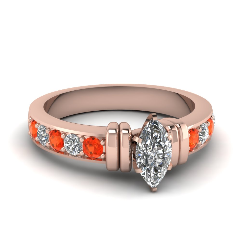 simple bar set marquise moissanite engagement ring with orange topaz in FDENR957MQRGPOTO Nl RG