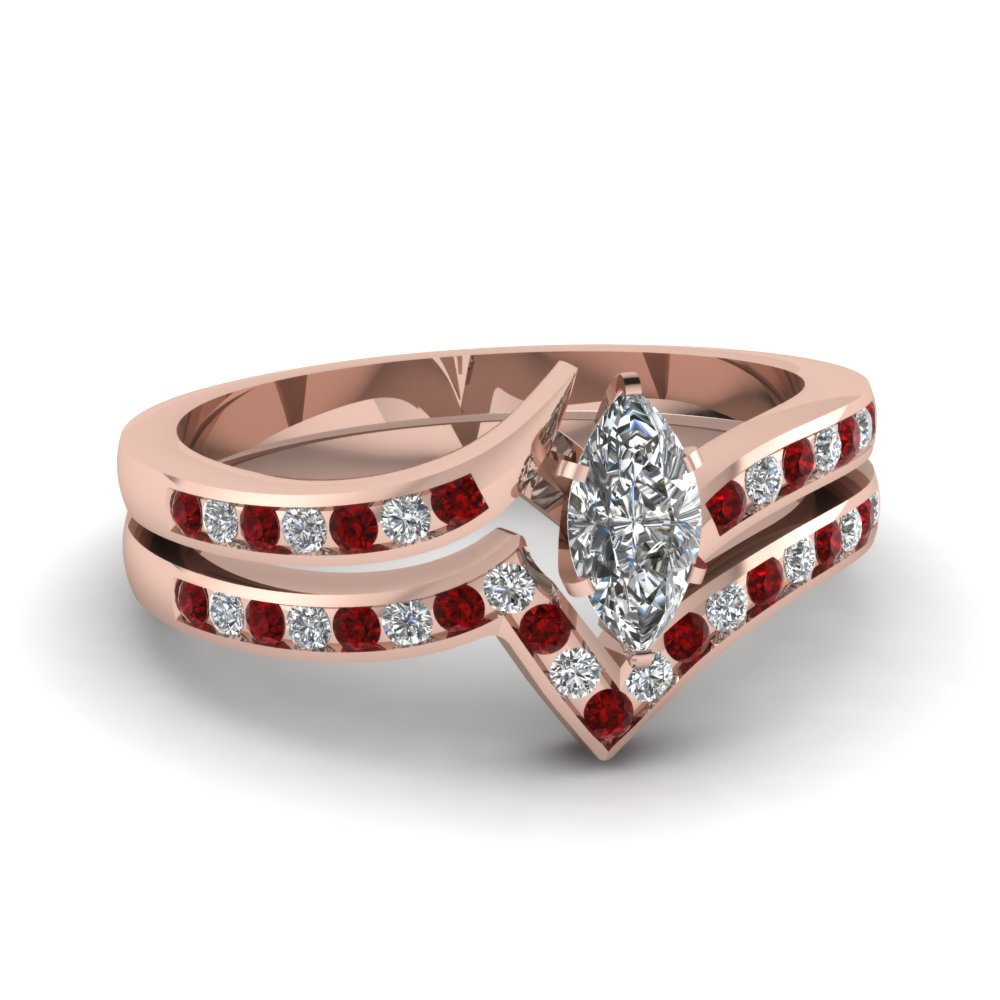 Ruby Twisted Edge Ring Set