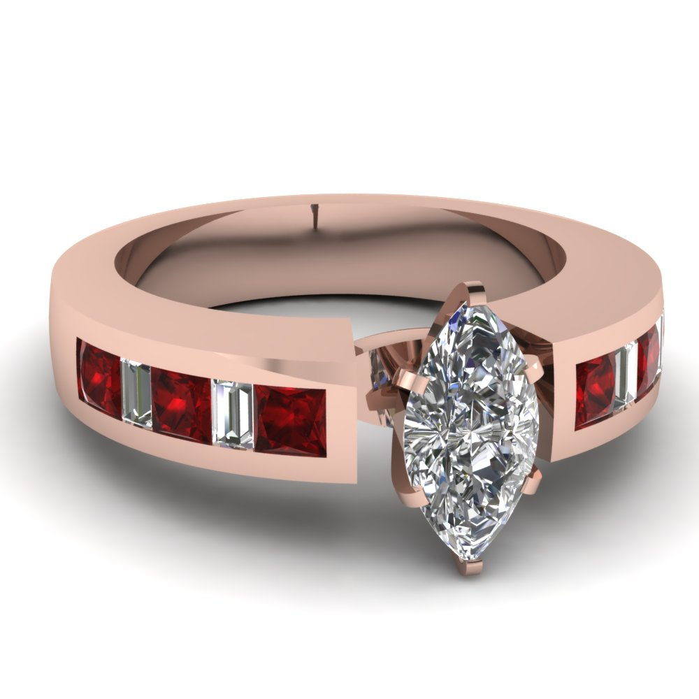 Thick Band Marquise Shaped Diamond Ruby Engagement Ring