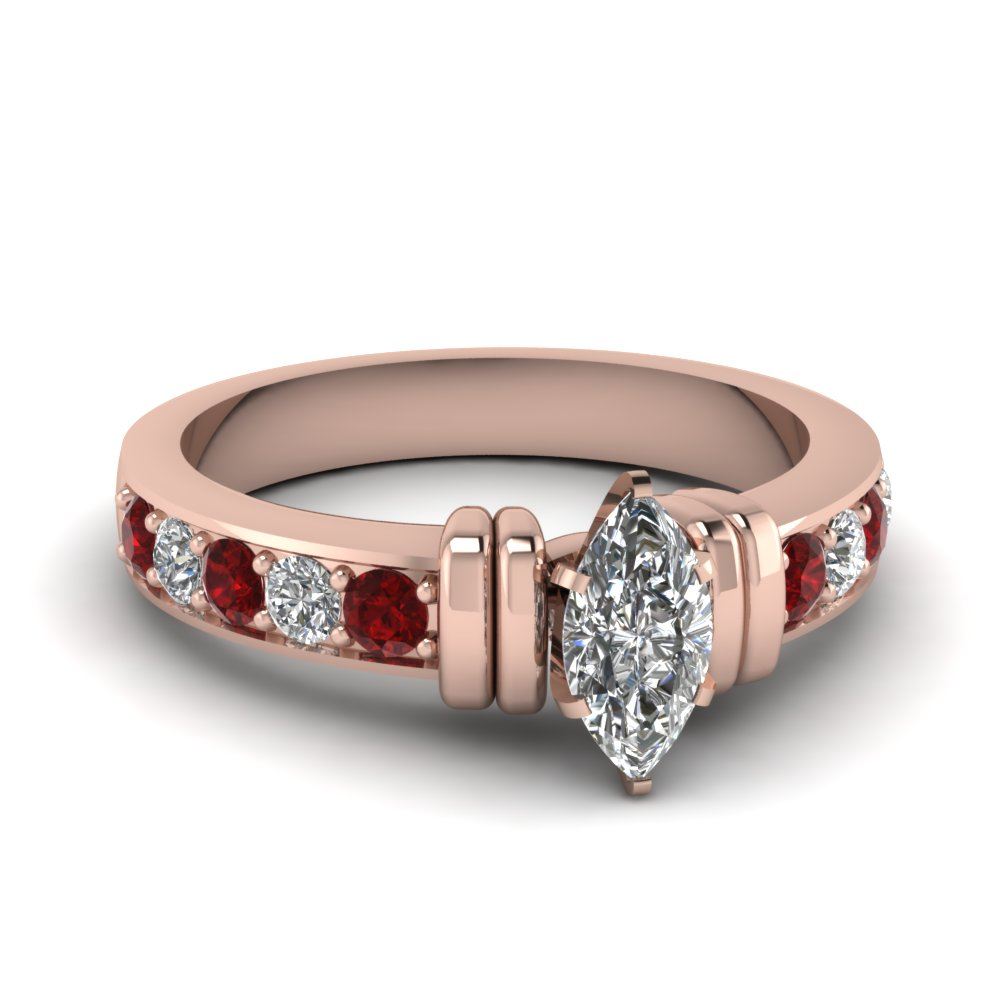simple bar set marquise lab diamond engagement ring with ruby in FDENR957MQRGRUDR Nl RG