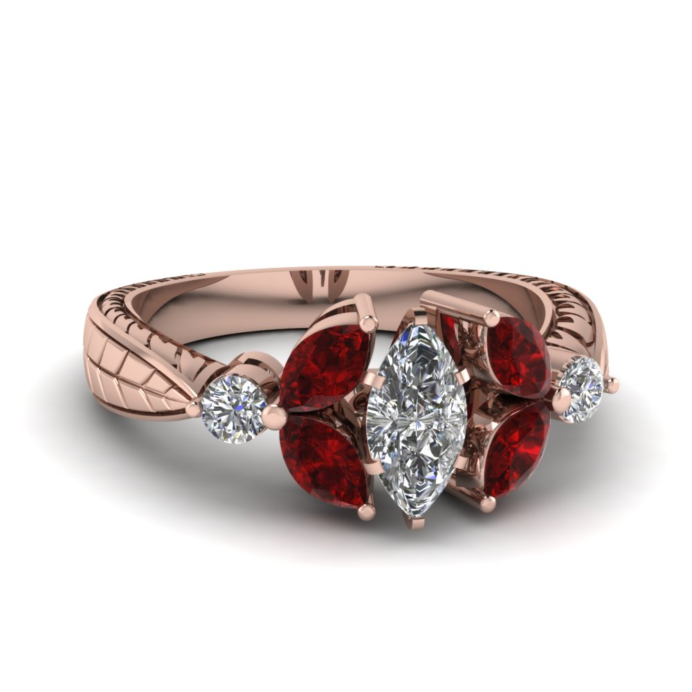 Marquise Diamond Ruby Petal Engagement Ring In Rose Gold