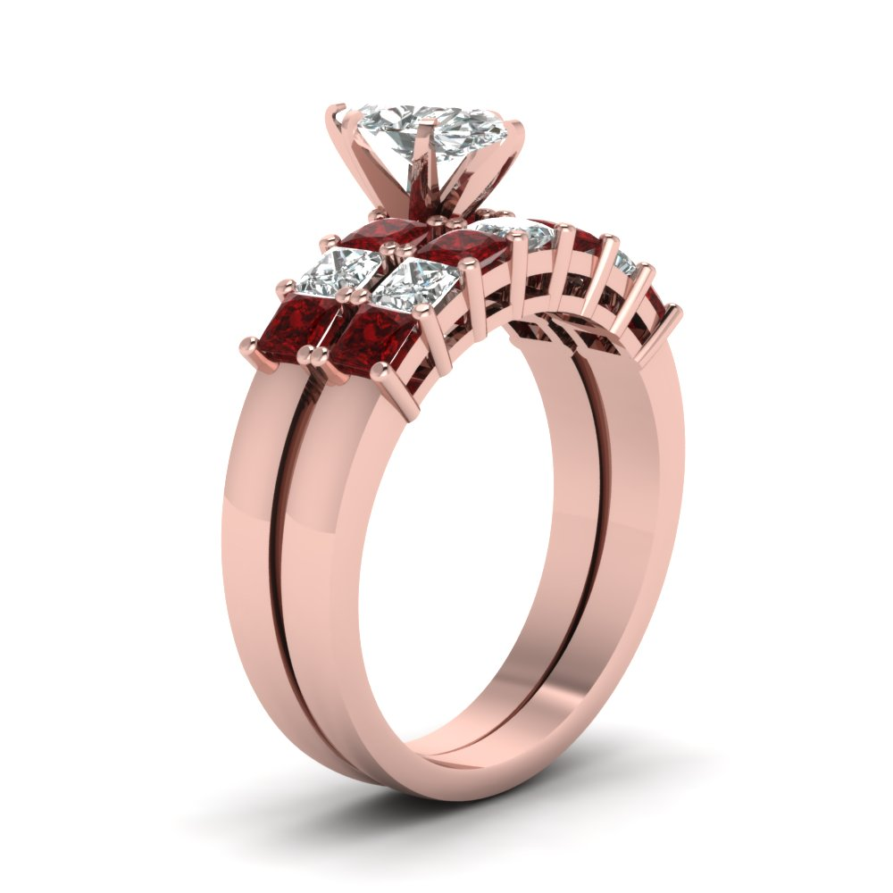 7 Stone Marquise Diamond Bridal Set With Ruby In 14K Rose Gold ...
