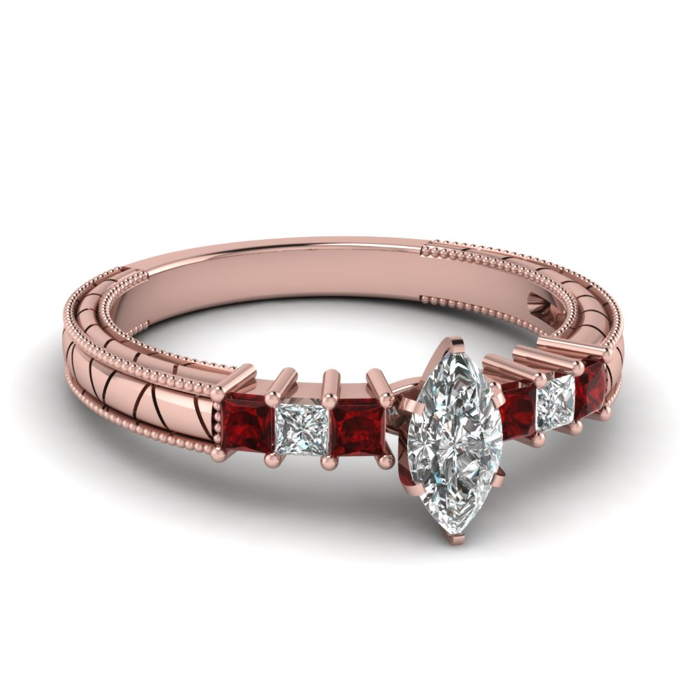 Milgrain Style Marquise Diamond and Ruby Engagement Ring