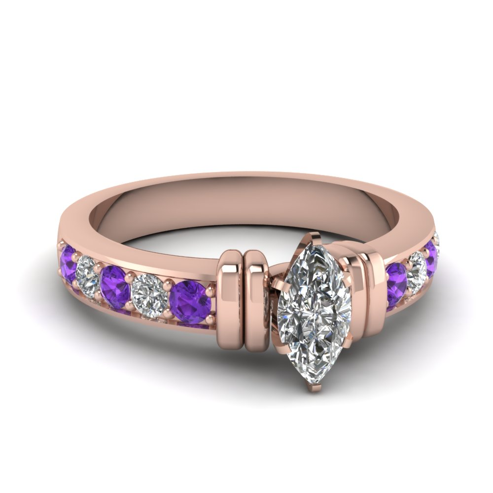simple bar set marquise diamond engagement ring with violet topaz in FDENR957MQRGVITO Nl RG