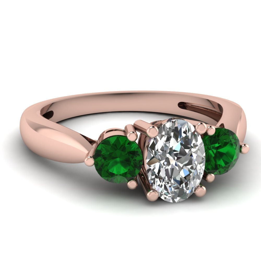 3 Stone Emerald Tapered Ring