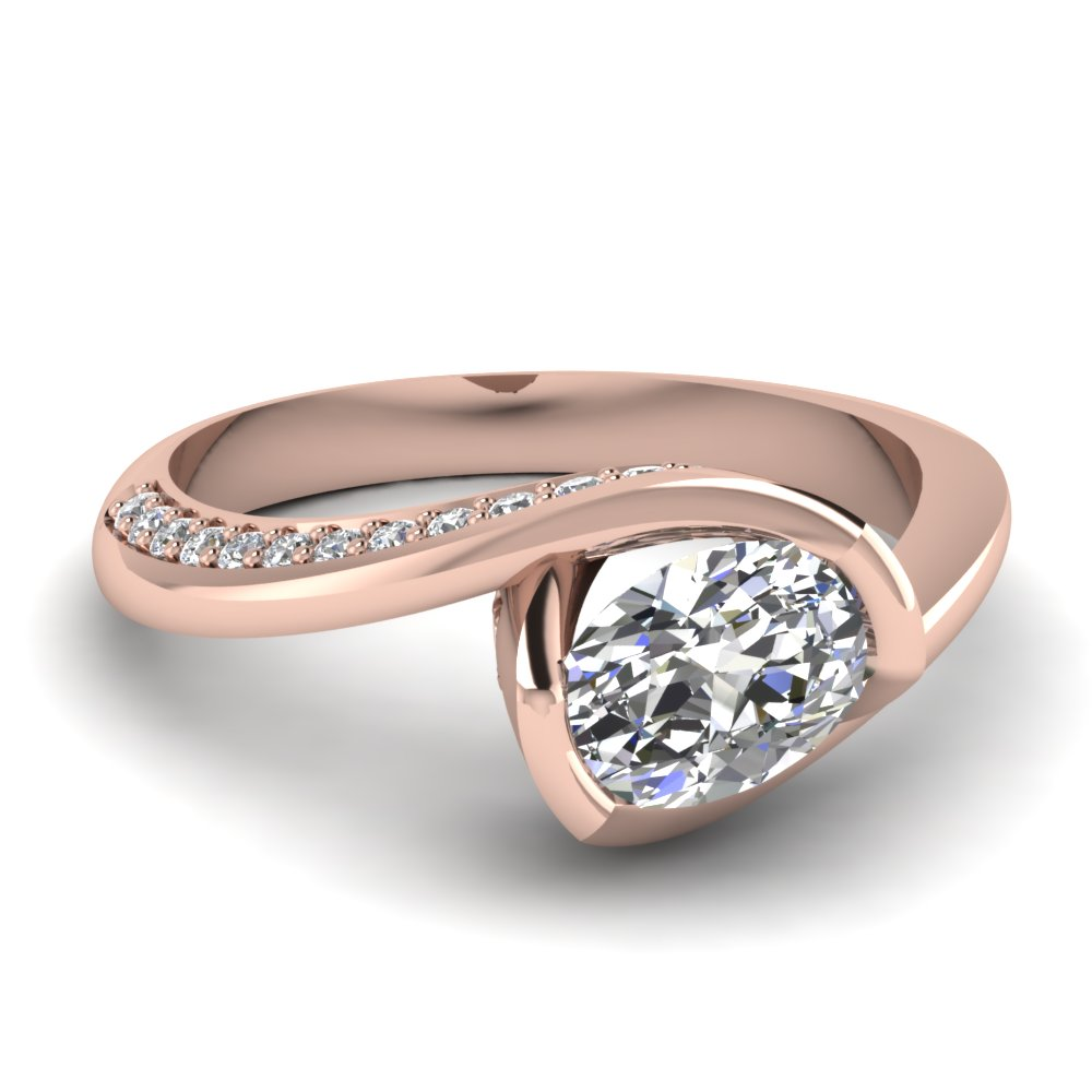 Swirl 18k Rose Gold Petite Engagement Rings