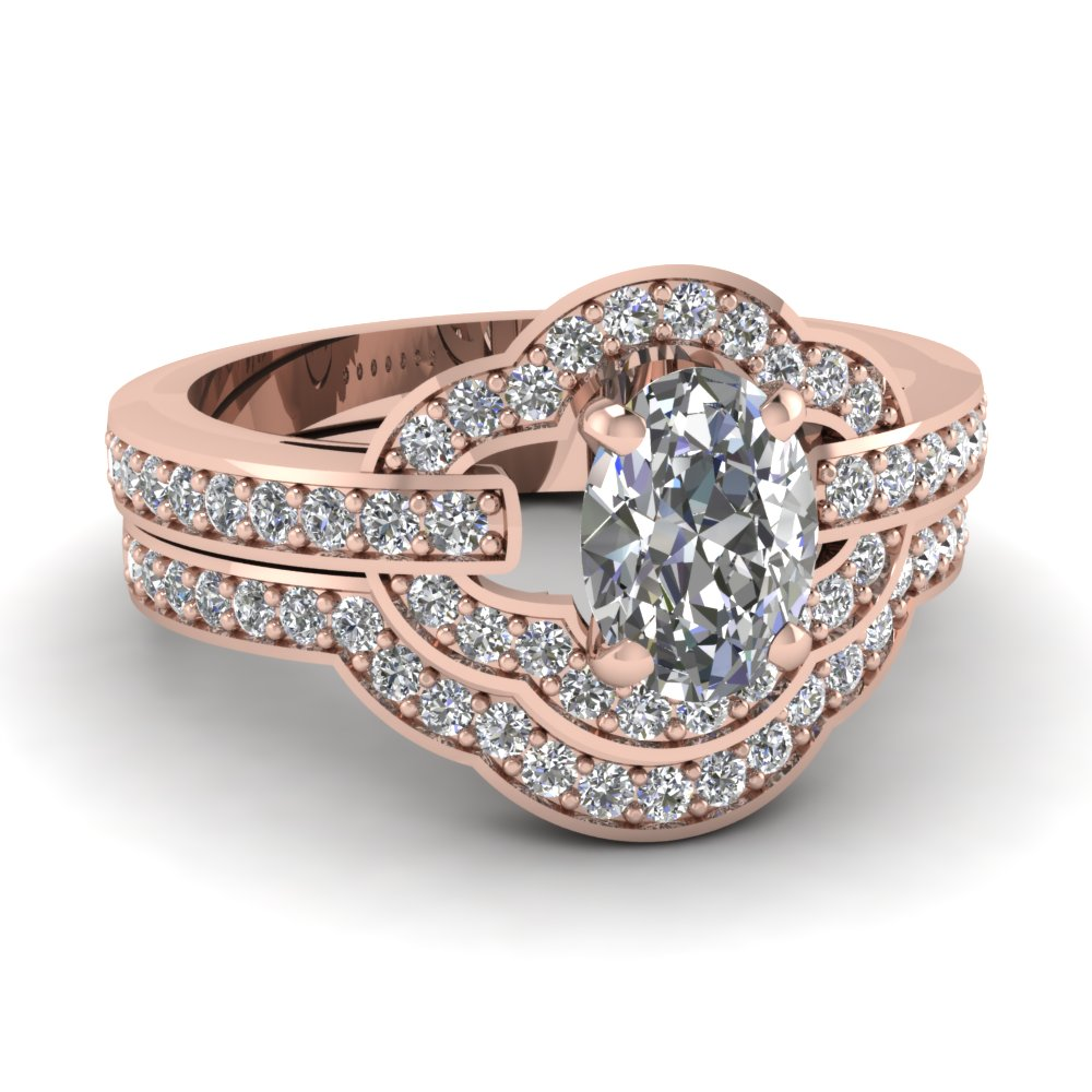 Petite Pave Oval Wedding Set