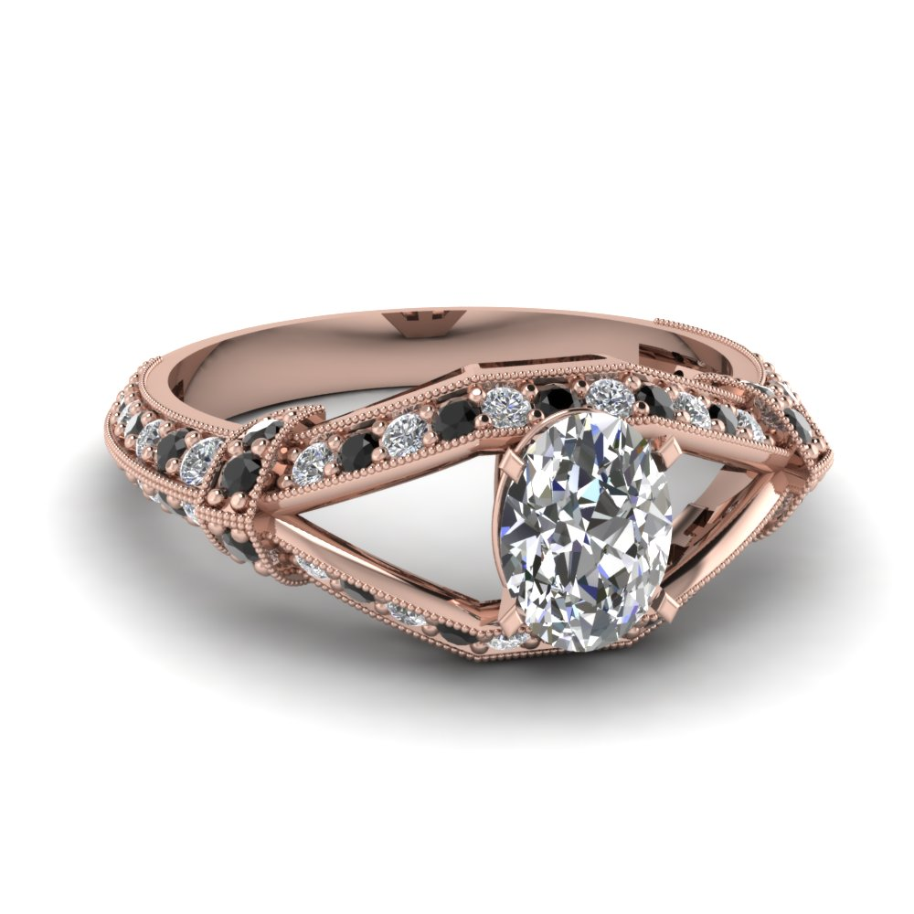 Rose Gold Oval White Diamond Engagement Wedding Ring With Black Diamond In Pa