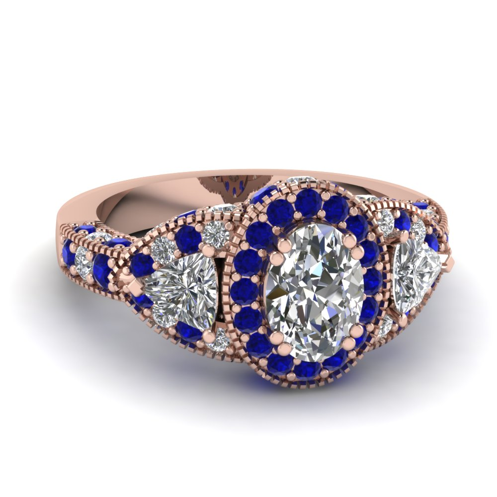 Oval Diamond With Halo Sapphire Antique Ring