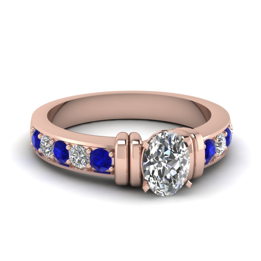 simple bar set oval lab diamond engagement ring with sapphire in FDENR957OVRGSABL Nl RG