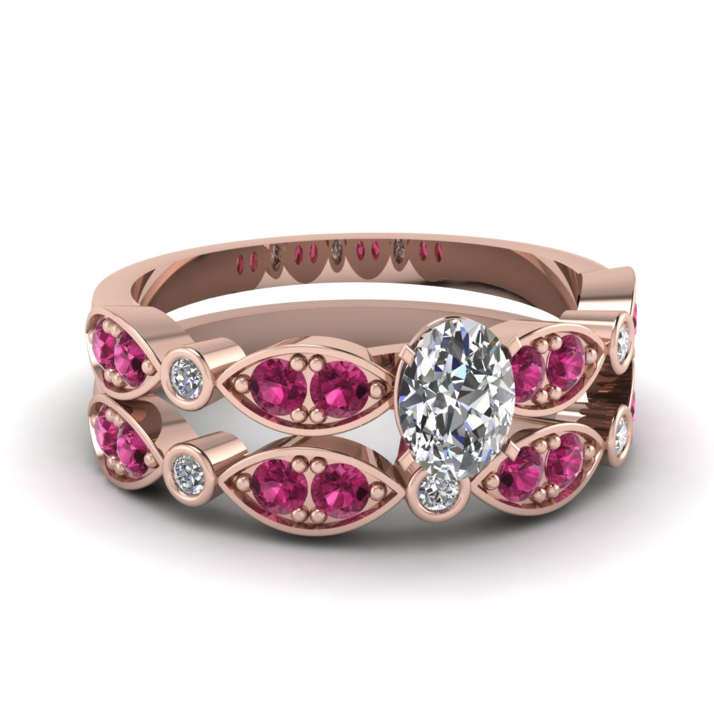 art deco oval diamond wedding ring set with pink sapphire in FDENS2035OVGSADRPI NL RG
