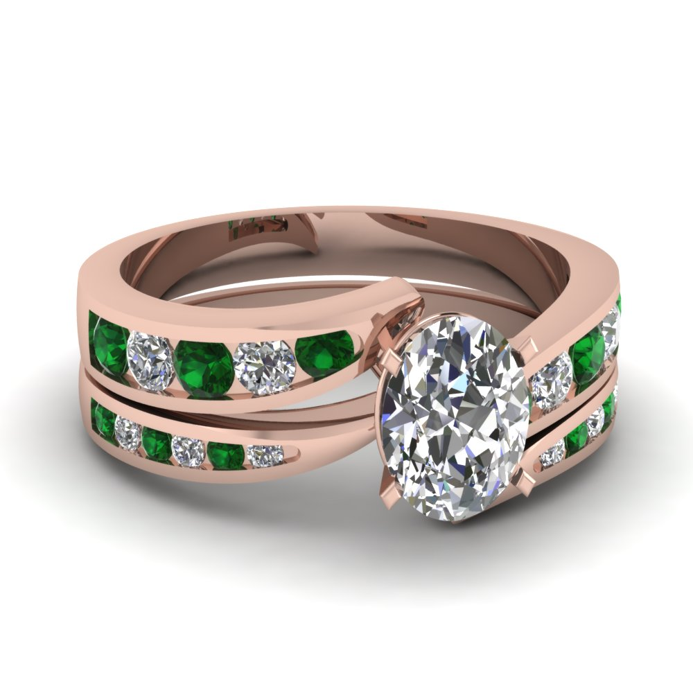oval shaped swirl channel diamond bridal set with emerald in FDENS4028OVGEMGR NL RG.jpg