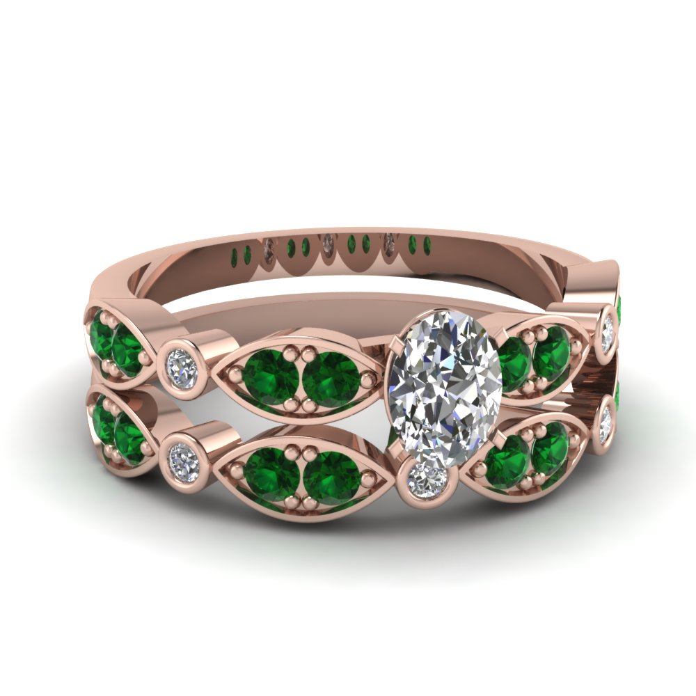 rose-gold-oval-white-diamond-engagement-wedding-ring-with-green-emerald-in-pave-bezel-set-FDENS2035OVGEMGR-NL-RG