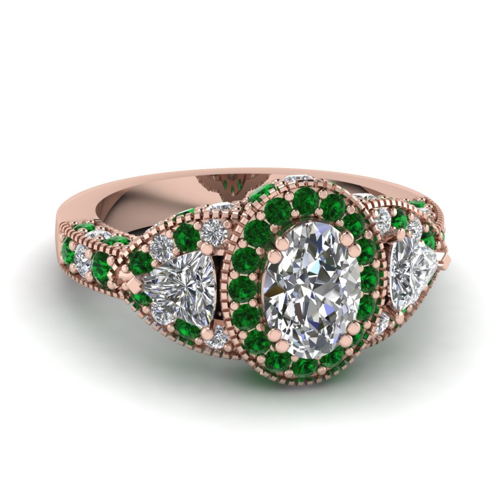 rose gold oval white diamond engagement wedding ring with green emerald in pave prong set fascinating diamonds - Oval Wedding Ring