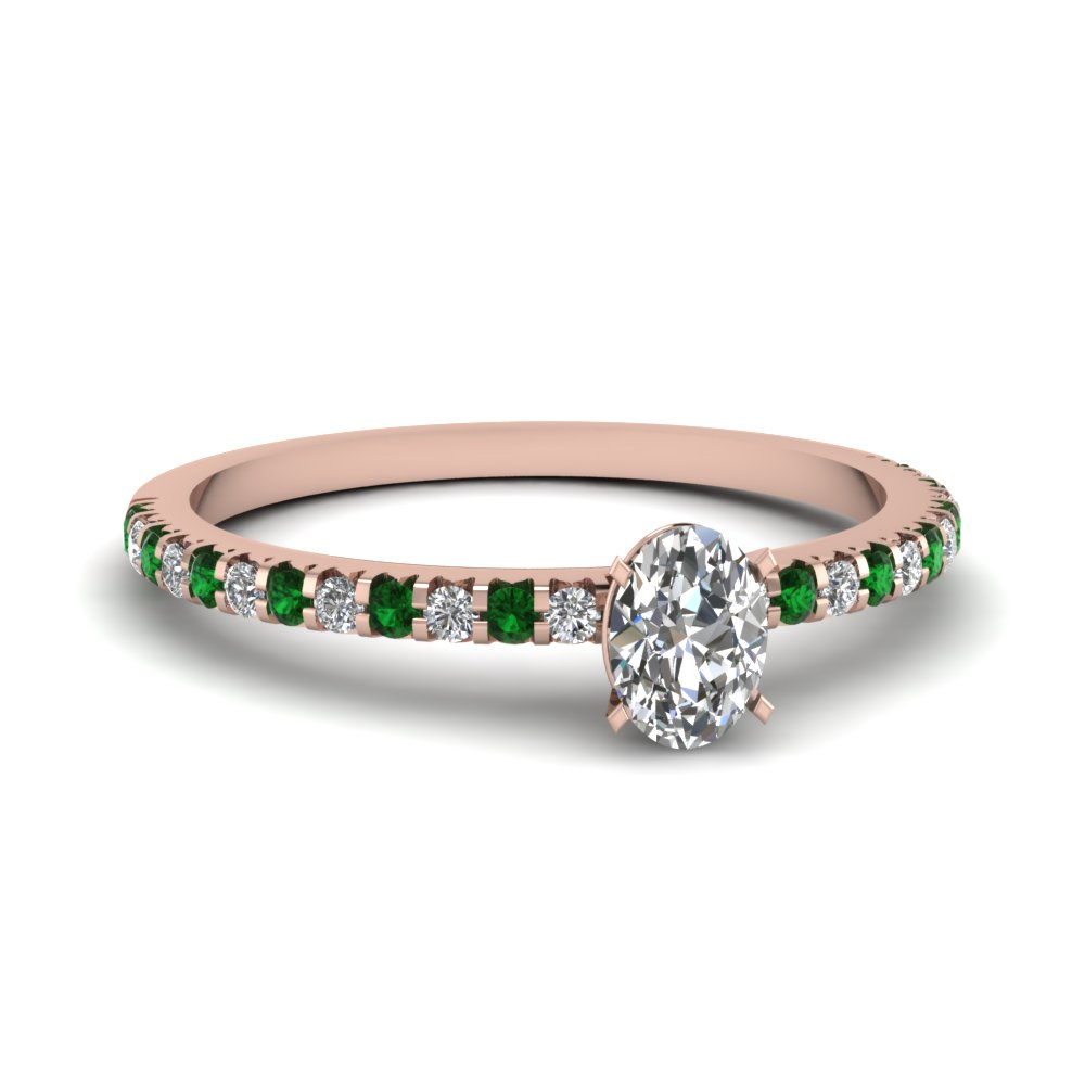 Oval Shaped Diamond Petite Engagement Rings With Green Emerald In 14k Rose  Gold