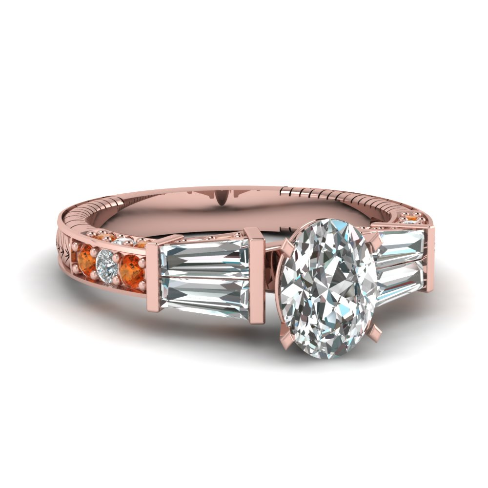 vintage baguette oval diamond engagement ring with orange sapphire in FDENS318OVRGSAOR NL RG