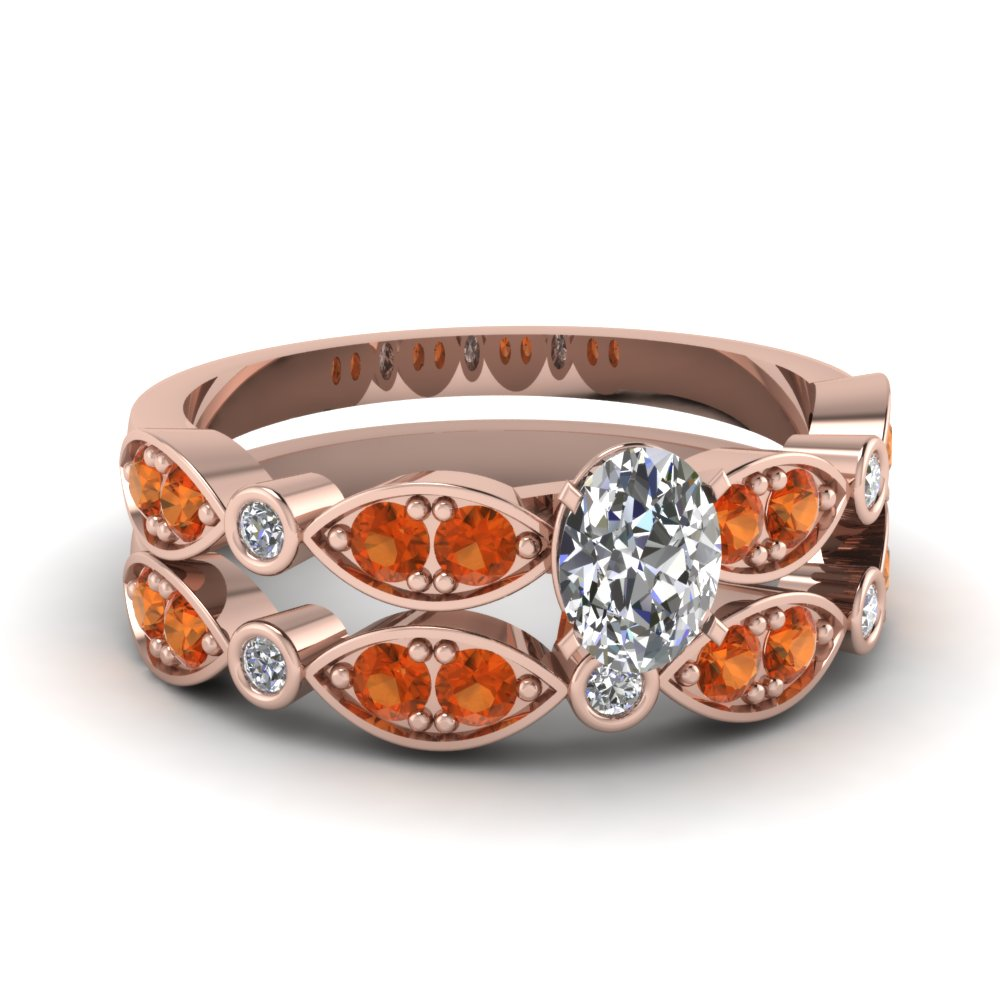 art deco oval diamond wedding ring set with orange sapphire in FDENS2035OVGSAOR NL RG