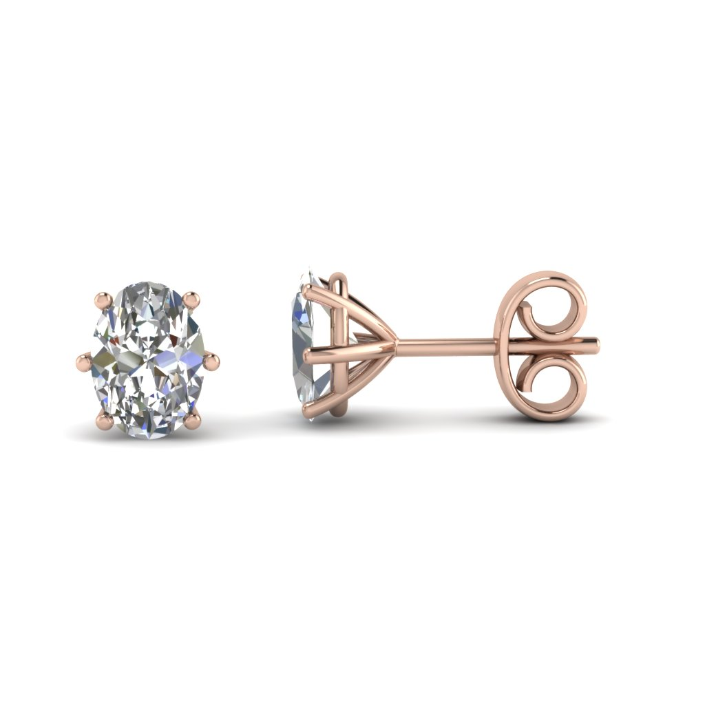 Rose Gold Oval White Diamond Stud Earrings In