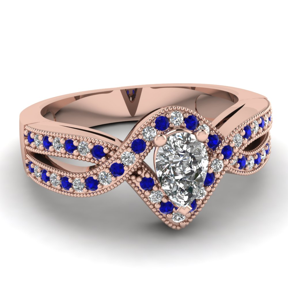 Pear Shaped Diamond Halo Engagement Rings With Blue Sapphire In 14k Rose  Gold