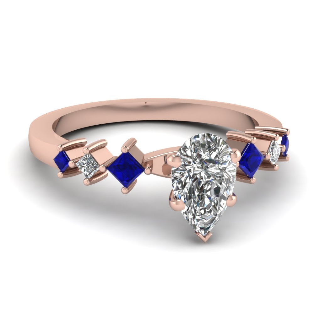 Sapphire Pear Shaped Diamond Thin Band Engagement Ring